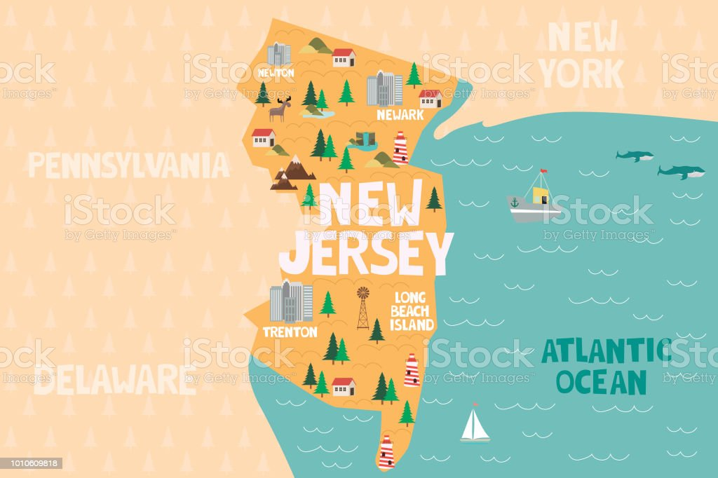 Illustrated Map Of The State Of New Jersey In United States ...