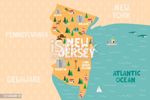 Illustrated map of the state of New Jersey in United States with cities and landmarks. Editable vector illustration