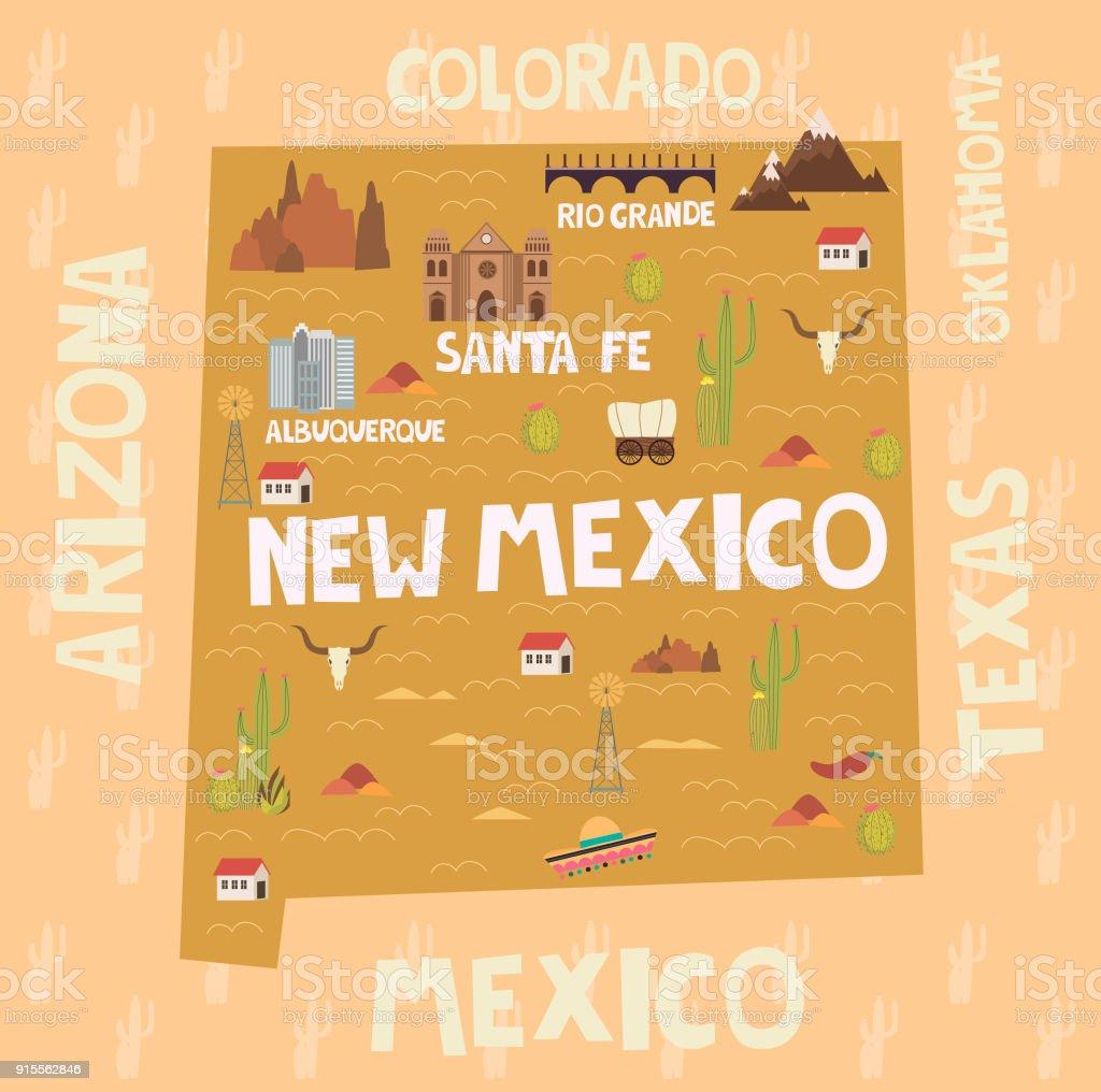 Harita New Mexico Eyaleti Amerika Birleik Devletlerinde Ehirler Ve Yerler Ile Resimli Royalty