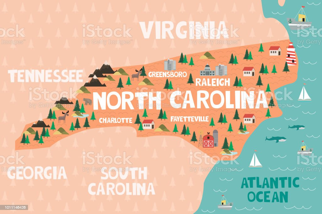 Illustrated Map Of The State Of North Carolina In United ... on wisconsin topographical map key, georgia beaches map, georgia map cities ga, georgia county map, georgia's manufacturing key, georgia colony towns, georgia colony map, georgia capital map, georgia map bodies of water, georgia pine mountain trail map, georgia state map, georgia state location,