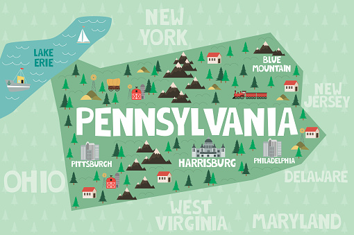 Illustrated Map Of The State Of Pennsylvania In United ... on pittsburgh art map, pittsburgh black map, pittsburgh simple map, pittsburgh interactive map, pittsburgh aviation map, pittsburgh illustration, pittsburgh history, pittsburgh photography,