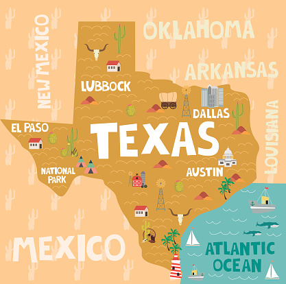 Map Of Louisiana And Texas With Cities.Illustrated Map Of The State Of Texas In United States With Cities