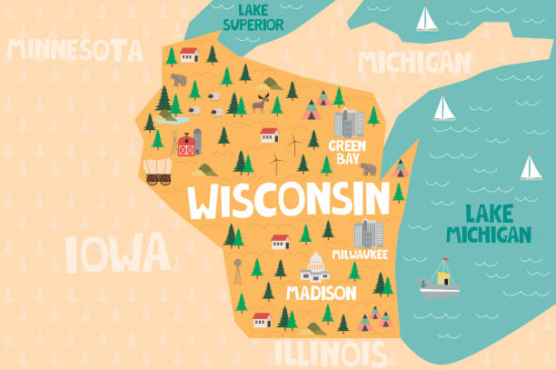 Illustrated map of the state of Wisconsin in United States Illustrated map of the state of Wisconsin in United States with cities and landmarks. Editable vector illustration wisconsin stock illustrations