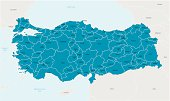 Detailed vector map of Turkey with border states and administrative divisions and main cities.