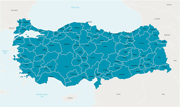 Illustrated map of Turkey in blue Detailed vector map of Turkey with border states and administrative divisions and main cities. turkish stock illustrations