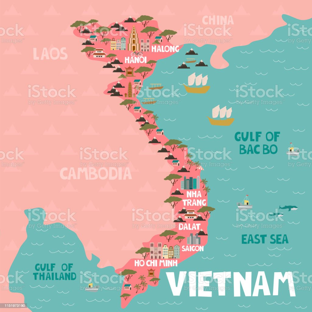Illustrated Map Of Vietnam With Cities And Landmarks Stock