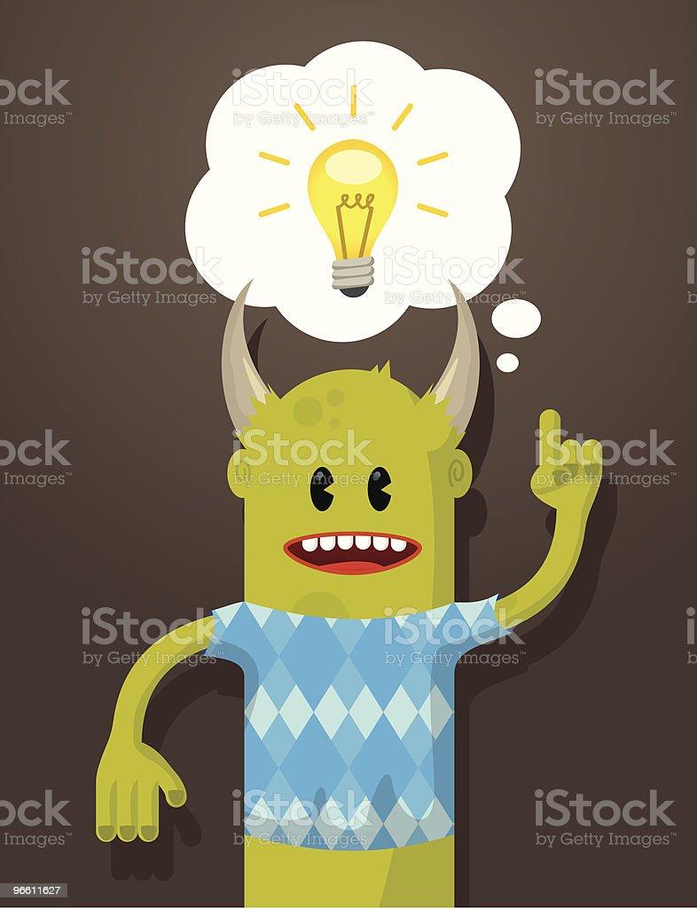 Иллюстрированный монстр с лампочку, пузырьком мыслей - Векторная графика Без людей роялти-фри