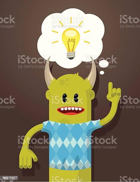 Иллюстрированный Монстр С Лампочку Пузырьком Мыслей — стоковая векторная графика и другие изображения на тему Без людей