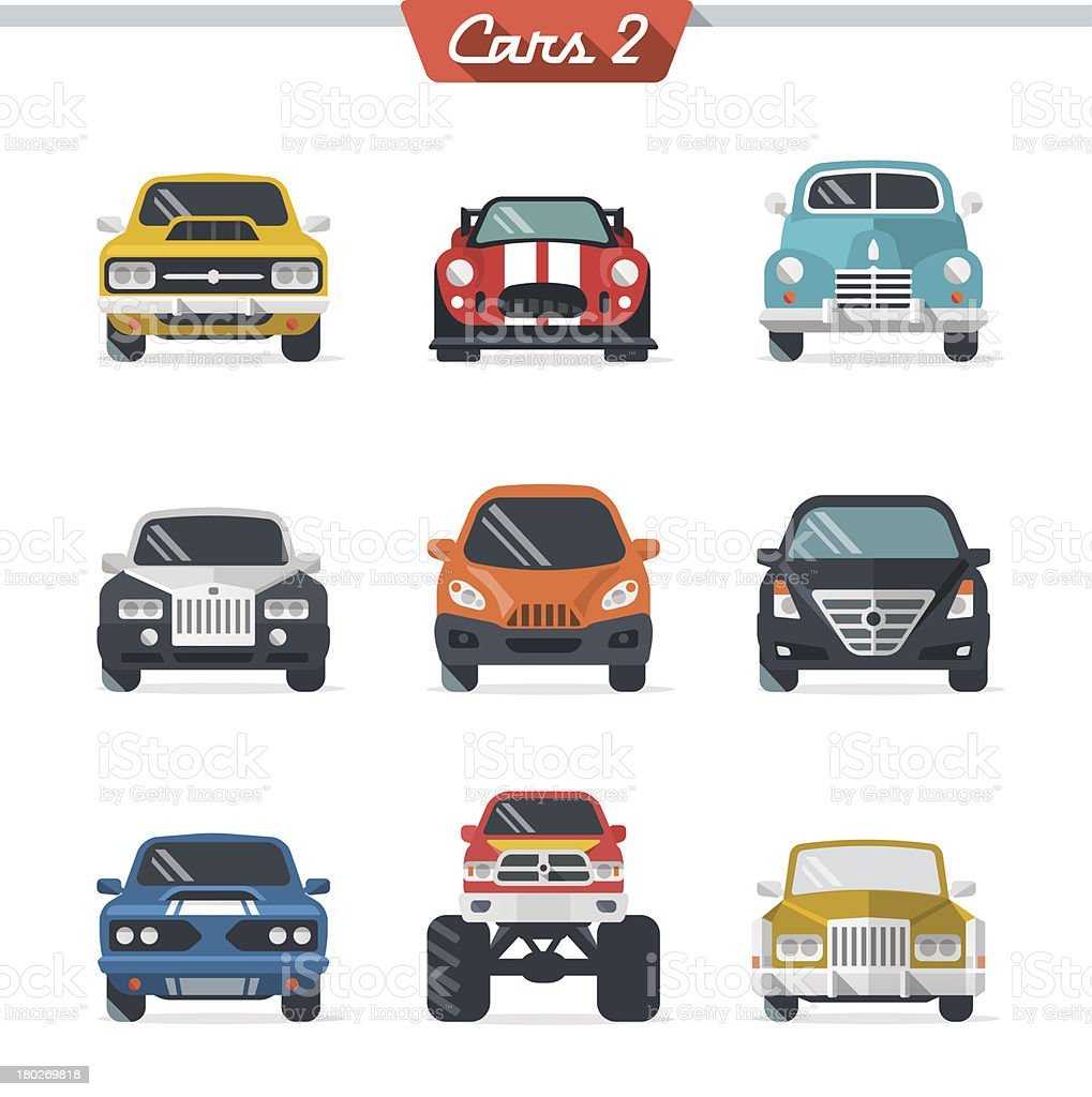 Illustrated multicolored car icon set vector art illustration