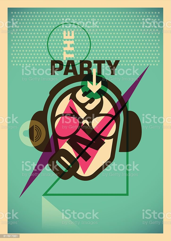 Illustrated party poster. vector art illustration