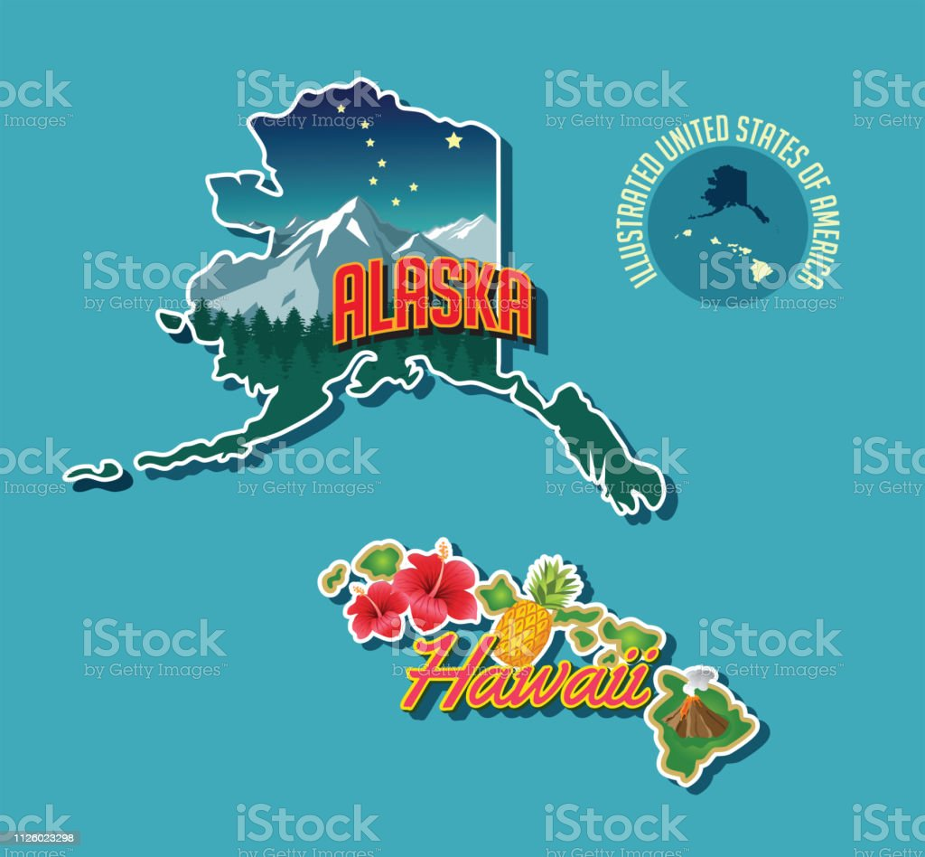 Illustrated Pictorial Map Of Alaska And Hawaii United States ...