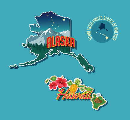 Illustrated pictorial map of Alaska and Hawaii, United States.