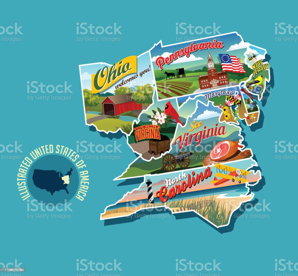 Illustrated Pictorial Map Of Eastern United States Includes ...