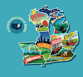 Illustrated pictorial map of Midwest United States. Includes Wisconsin, Michigan, Missouri, Illinois, Indiana, Kentucky and Ohio. Vector Illustration.