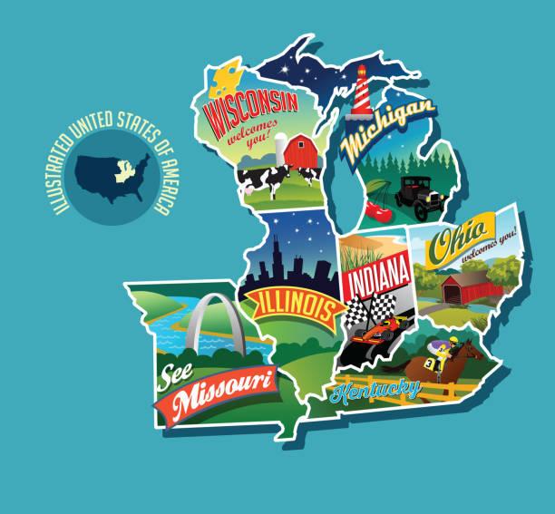 美國中西部的插圖地圖。包括威斯康辛州、密歇根州、密蘇里州、伊利諾州、印第安那州、肯塔基州和俄亥俄州。 - st louis 幅插畫檔、美工圖案、卡通及圖標