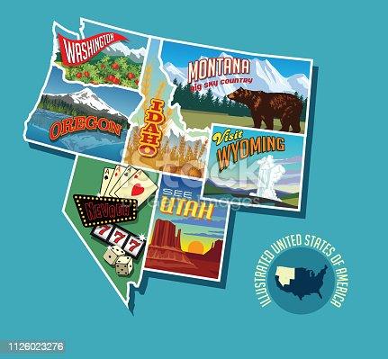 Illustrated pictorial map of Northwest United States. Includes Washington, Oregon, Idaho, Montana, Wyoming, Nevada and Utah. Vector Illustration.
