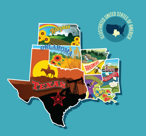stockillustraties, clipart, cartoons en iconen met geïllustreerde picturale kaart van zuid-amerikaanse staat. omvat kansas, oklahoma, texas, arkansas, louisiana en mississippi. - bloemen storm