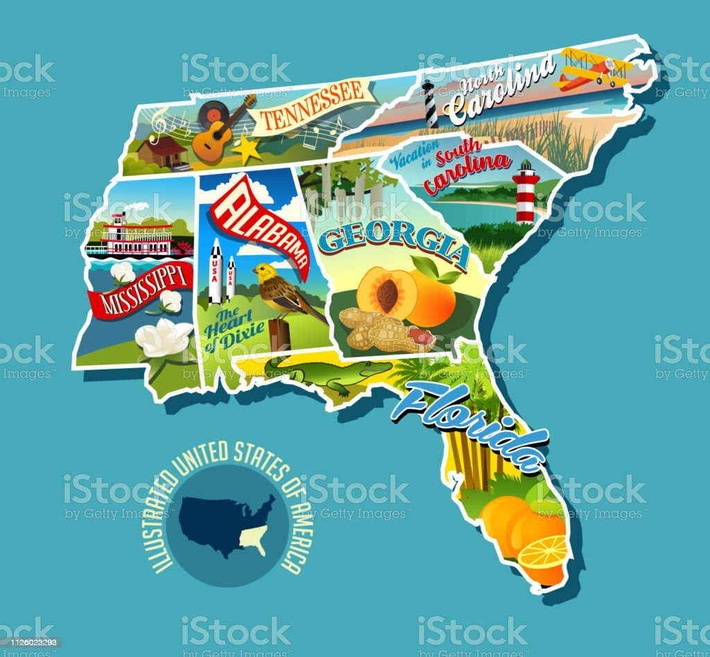 Illustrated Pictorial Map Of Southern United States Includes ... on idaho map, missouri map, florida georgia city, florida georgia flag, south carolina map, florida georgia alabama, florida georgia history, new york map, florida georgia outline, florida georgia game, alabama map, tennessee map, maine map, oklahoma map, florida georgia weather, florida georgia logo, florida georgia water, virginia map,