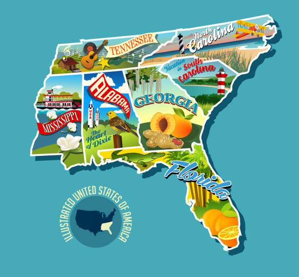 Illustrated pictorial map of Southern United States. Includes Tennessee, Carolinas, Georgia, Florida, Alabama and Mississippi. vector art illustration
