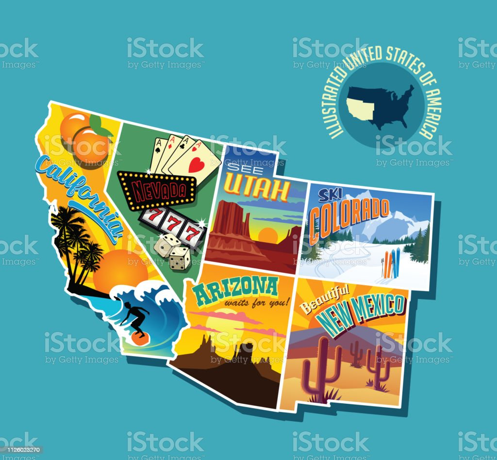 Map Of Arizona Nevada And California.Illustrated Pictorial Map Of Southwest United States Includes