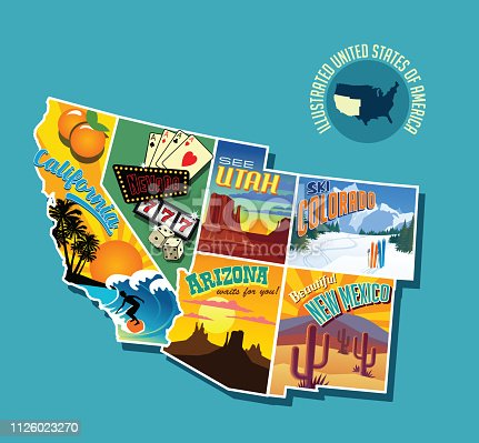 Illustrated pictorial map of southwest United States. Includes California, Nevada, Utah, Arizona, New Mexico and Colorado. Vector Illustration.