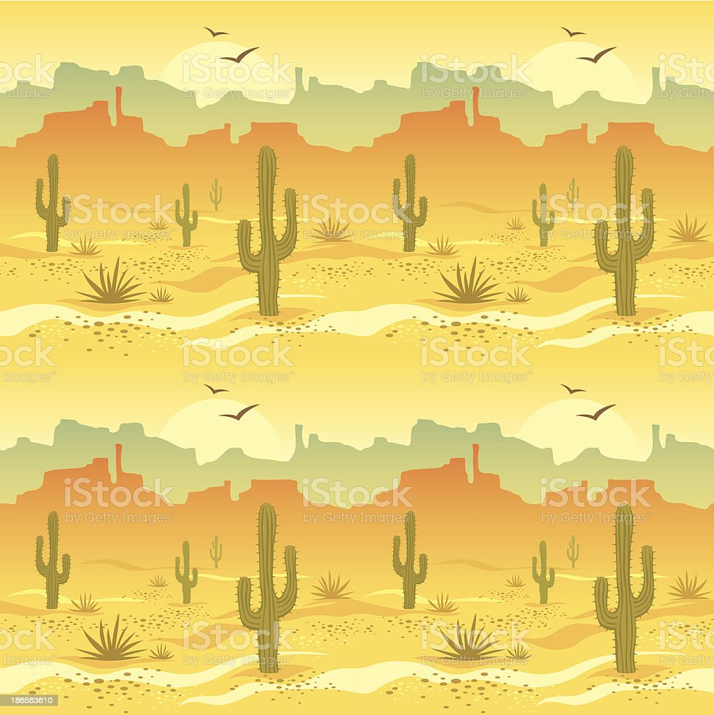 Illustrated picture of desert landscape vector art illustration