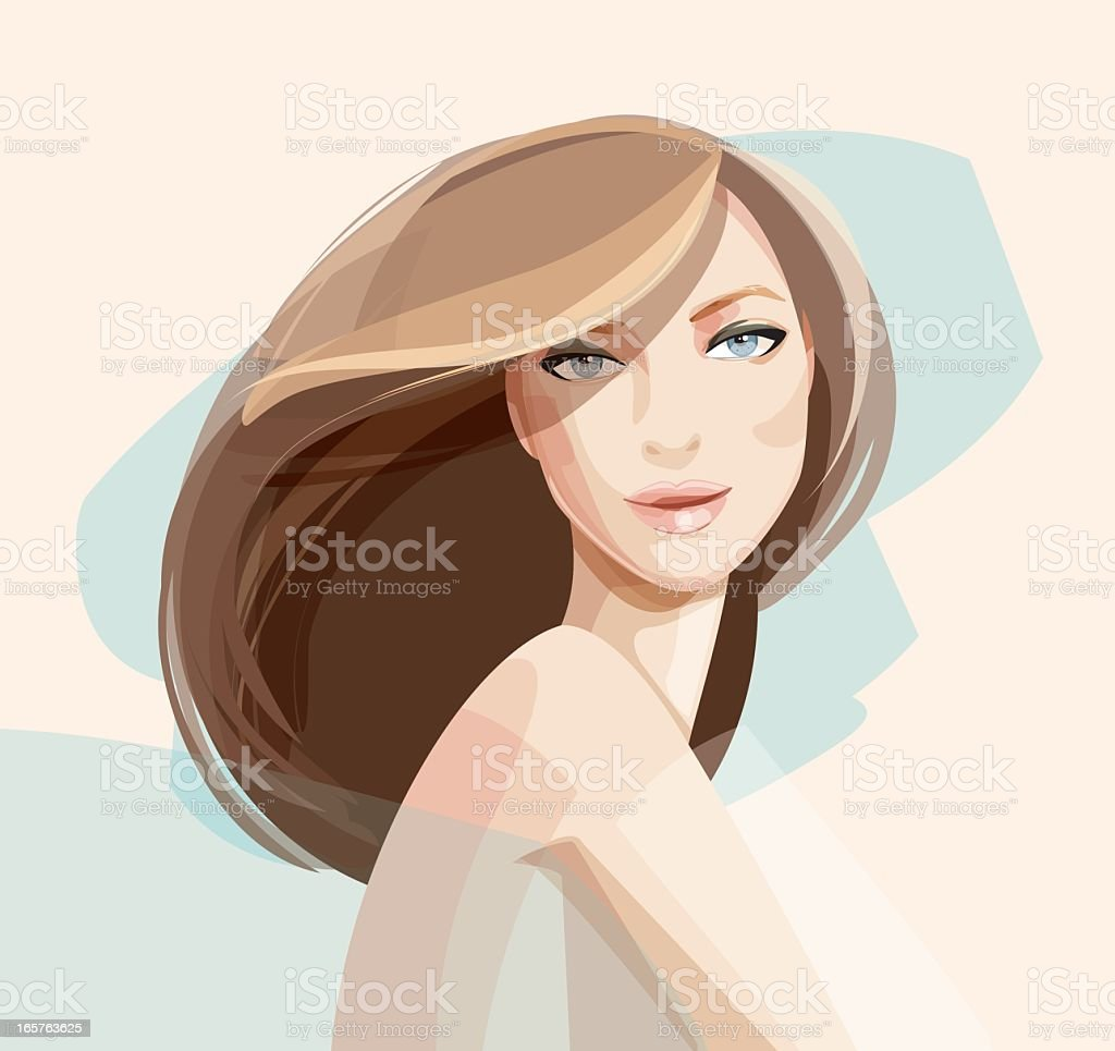 Illustrated portrait of a woman vector art illustration