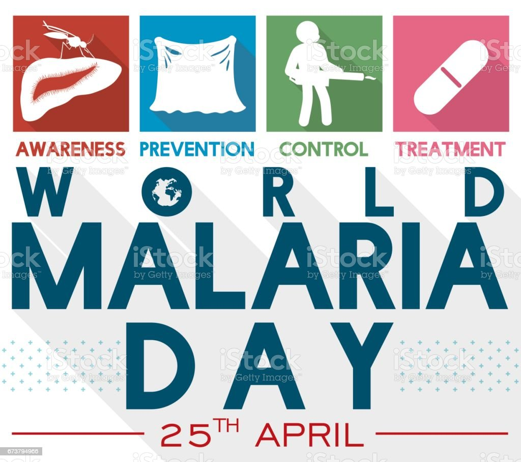 Illustrated Precepts to Commemorate World Malaria Day in Flat Style векторная иллюстрация