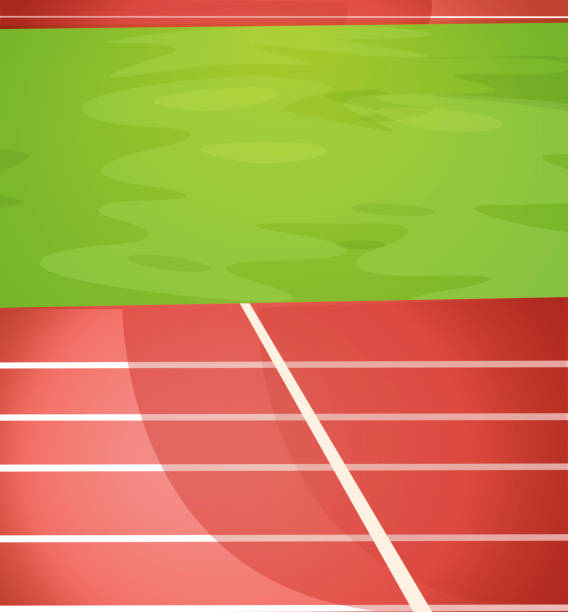 Illustrated running track lanes with grass field vector art illustration