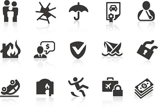 illustrierte satz von 15 versicherung-symbole - gesunken stock-grafiken, -clipart, -cartoons und -symbole