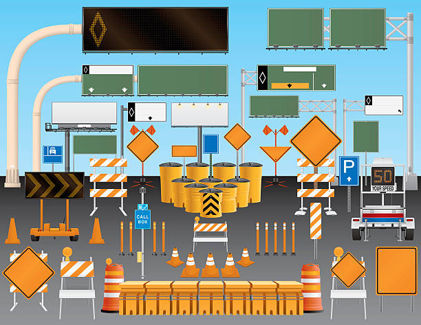 Illustrated set of road and traffic signs A large collection of road signs. There are construction signs, cones and barriers as well. Road signs display information for automobile driver's to view as they ride in their cars on freeways, highways and interstates. They have blank copyspace to display safety warnings, directions and notifications. electronic billboard stock illustrations