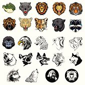 Illustrated set of wild animals and dogs