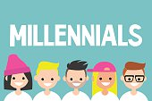 Illustrated sign. Group of smiling millennials