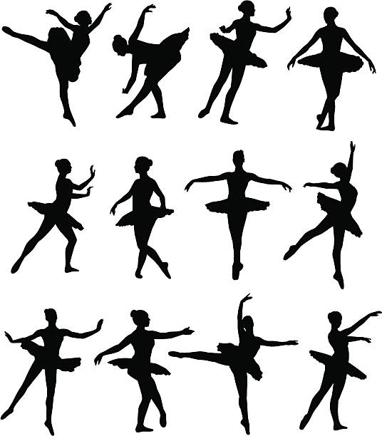 Illustrated silhouettes of ballet dancers vector art illustration