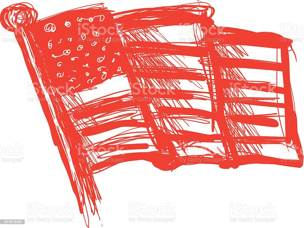 Illustrated Sketchy American Flag vector art illustration