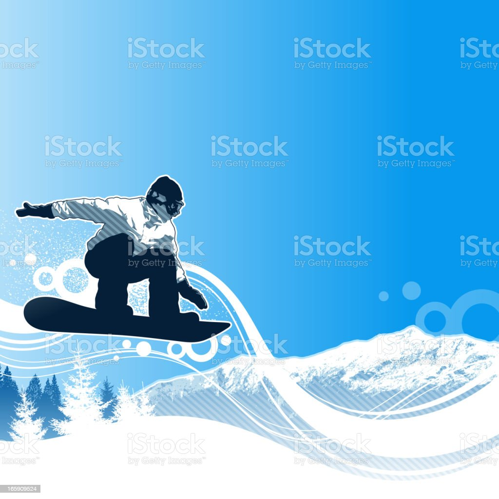 Illustrated snowboarder making a jump vector art illustration