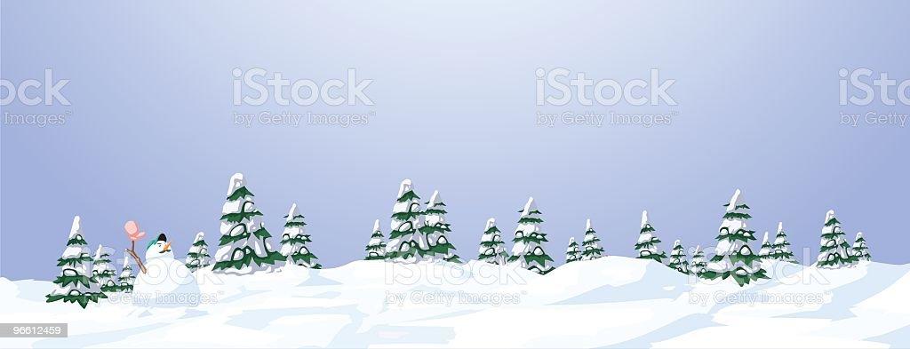 Illustrated snowy landscape with trees and a snowman - Royaltyfri Berg vektorgrafik
