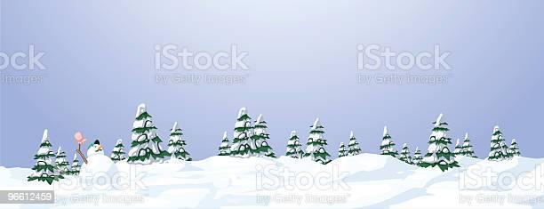 Illustrated Snowy Landscape With Trees And A Snowman-vektorgrafik och fler bilder på Berg