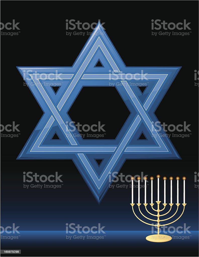 Illustrated Star of David with Menorah royalty-free stock vector art