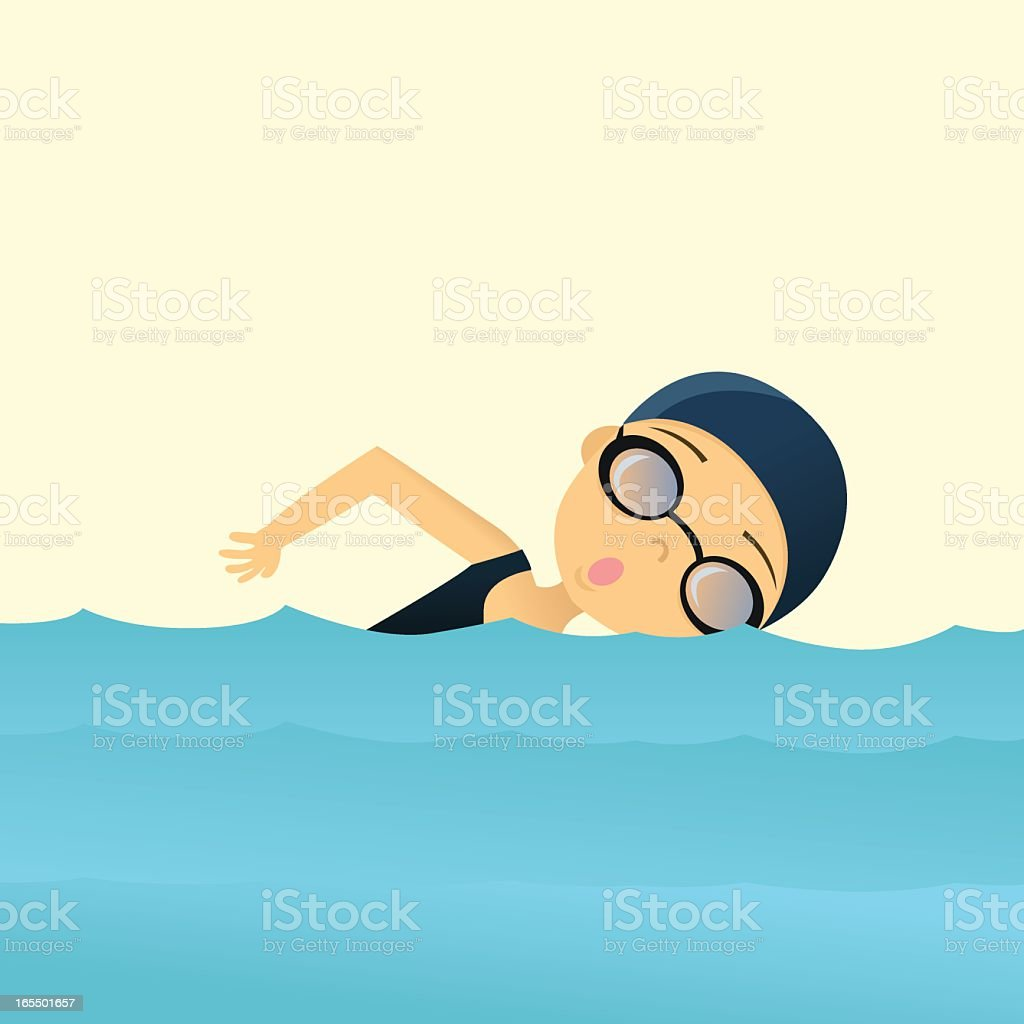 Illustrated swimmer in teal colored water  vector art illustration