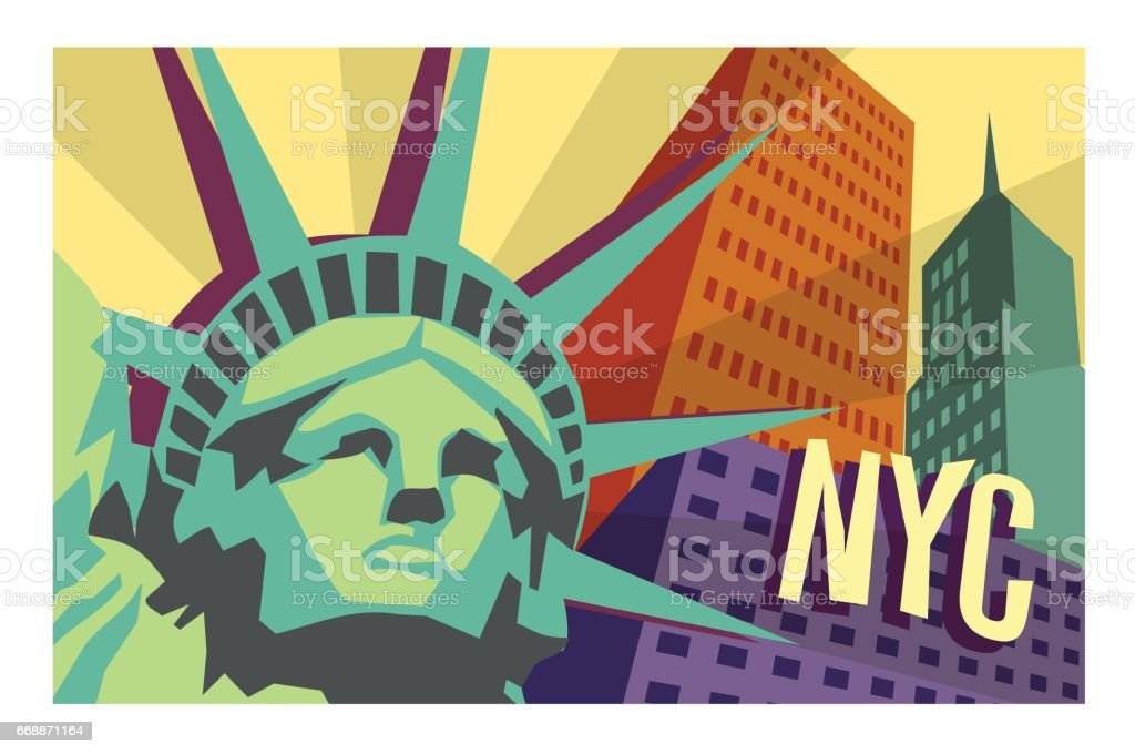 Illustrated travel poster of NYC and Statue of Liberty vector art illustration