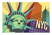 Illustrated travel poster of NYC and Statue of Liberty