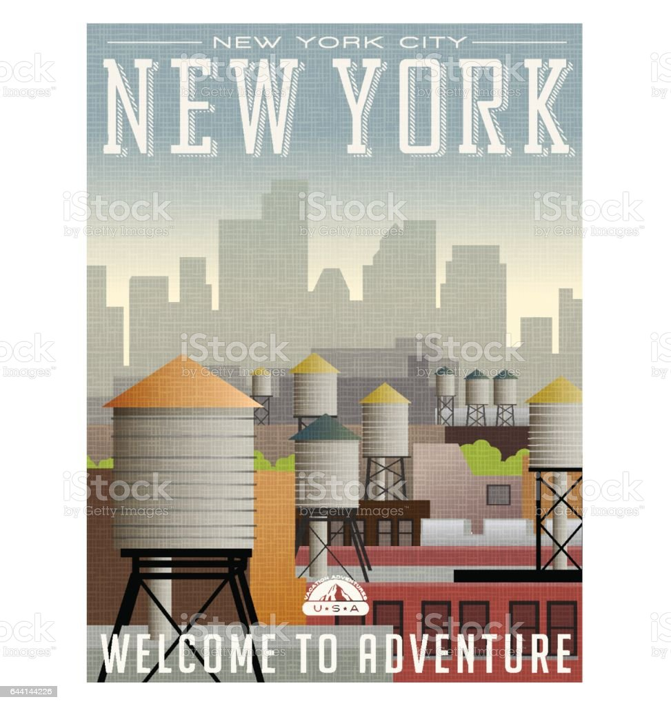 Illustrated travel poster or sticker for New York. Water towers on roof tops of buildings with skyscrapers in the distance vector art illustration