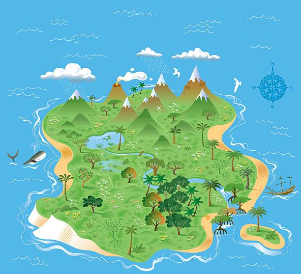 bildbanksillustrationer, clip art samt tecknat material och ikoner med illustrated treasure island - ö