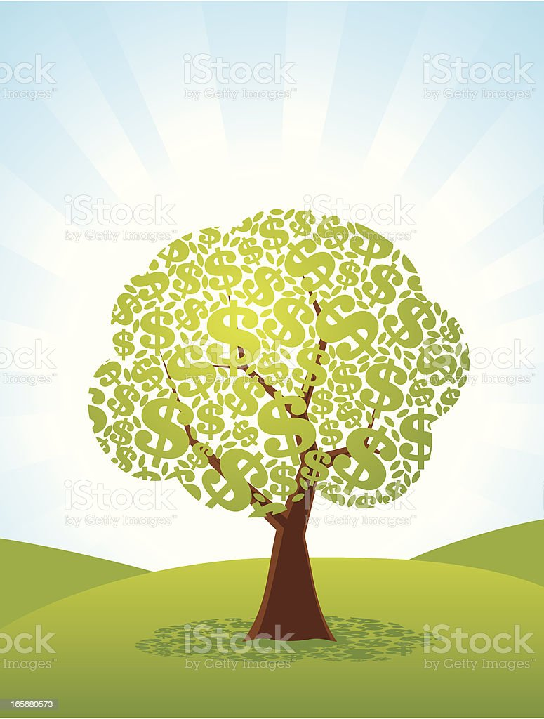 Illustrated tree with dollar signs for leaves vector art illustration
