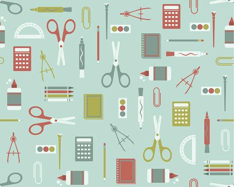 Illustrated vector school supplies pattern