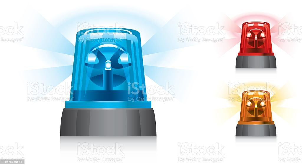Illustrated warning lights in three colors vector art illustration