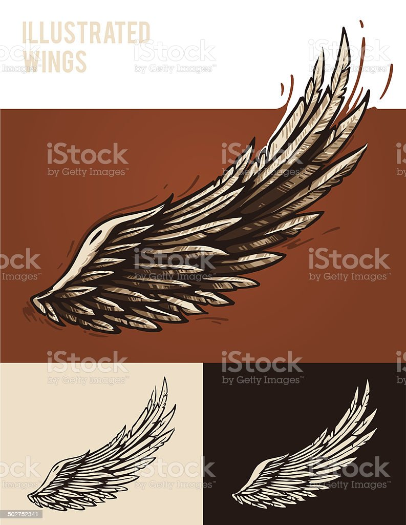 Illustrated wings vector art illustration