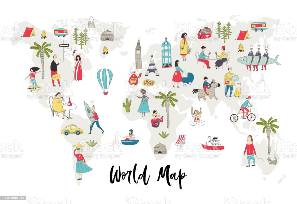 Illustrated World Map With Fun Hand Drawn Characters Plants And Elements  Cartoon Color Vector Illustration Stock Illustration - Download Image Now