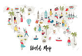 Illustrated World Map with fun hand drawn characters, plants and elements. Cartoon color vector illustration.